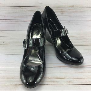 BCBG Black Wedge Heels Size 8.5